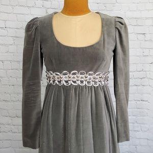 Vintage Gray Velvet Empire Waiste Dress size 8